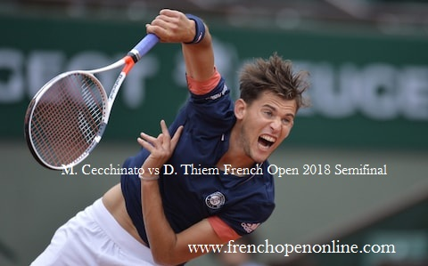 M. Cecchinato vs D. Thiem French Open 2018 Live